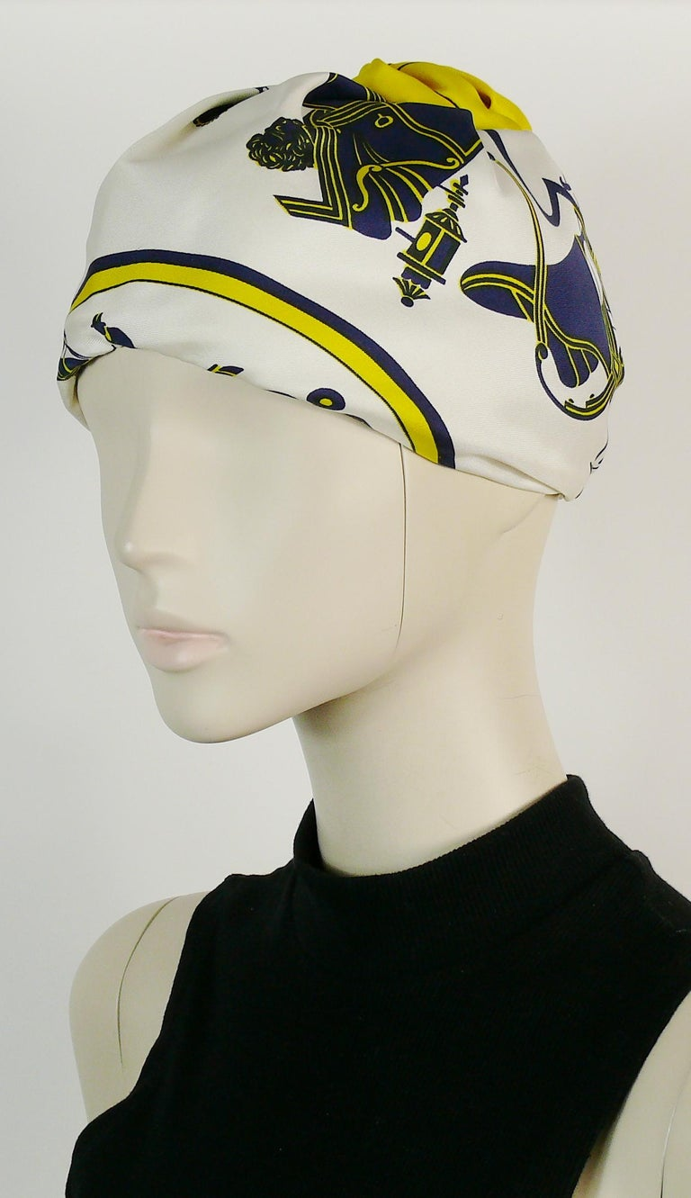 Hermes Vintage Carriages Silk Turban Hat  For Sale 2