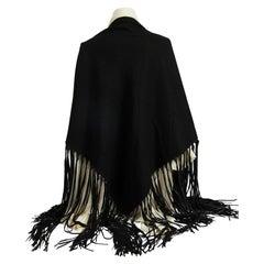 Hermès Vintage Cashmere Leather Fringe Black Shawl