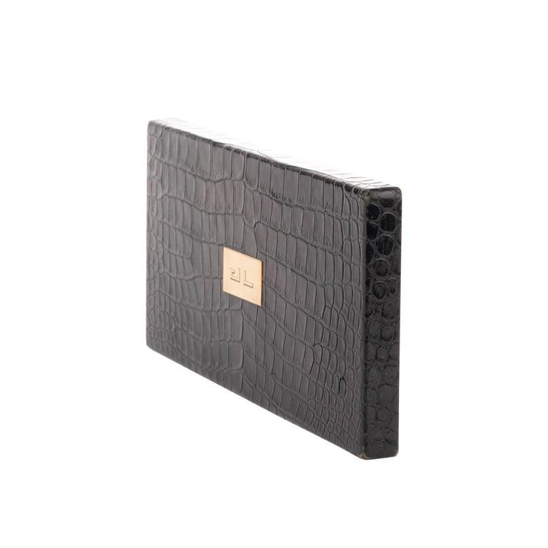 Black Hermès vintage cigarette box in black crocodile leather ! For Sale