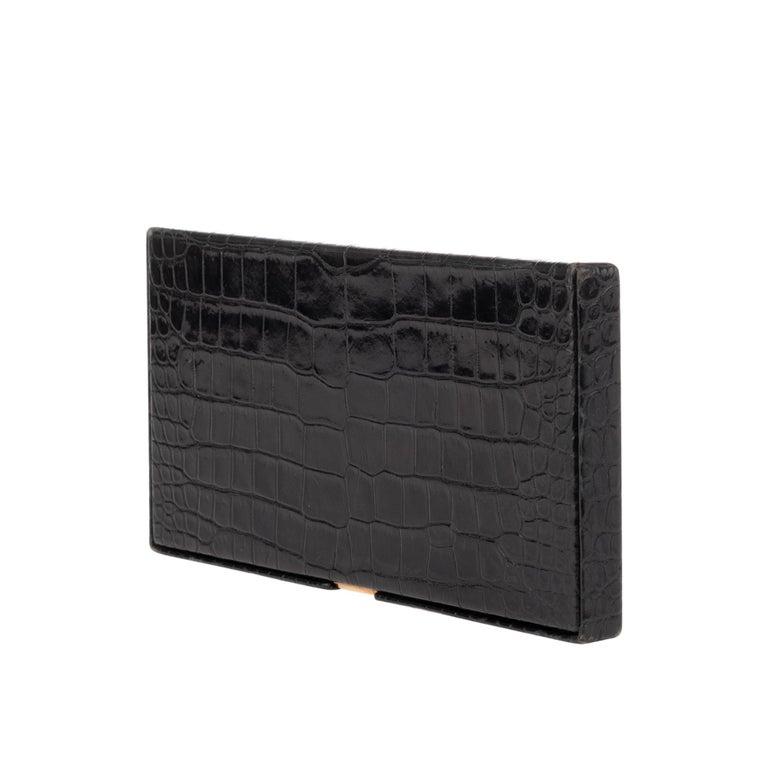 Hermès vintage cigarette box in black crocodile leather ! In Good Condition For Sale In Paris, Paris