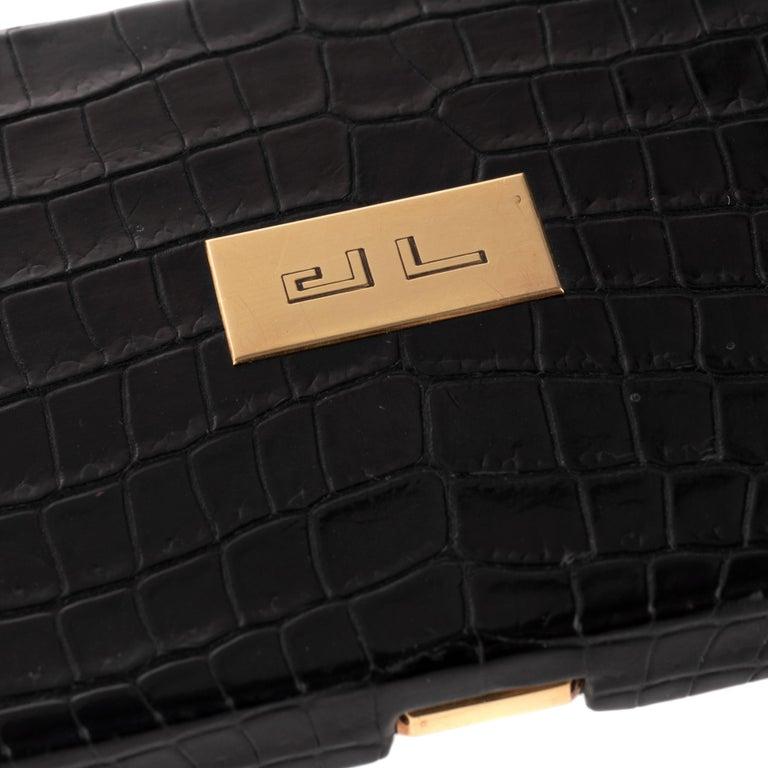 Women's or Men's Hermès vintage cigarette box in black crocodile leather ! For Sale