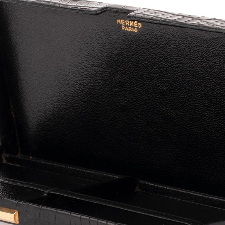 Hermès vintage cigarette box in black crocodile leather ! For Sale 3