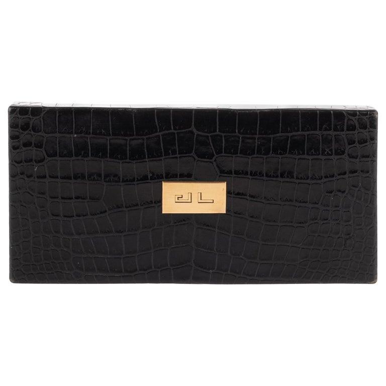 Hermès vintage cigarette box in black crocodile leather ! For Sale