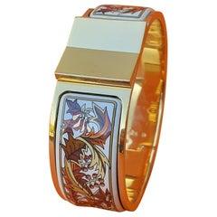 Hermès Vintage Clic Clac Enamel Bracelet Fall Foliage Gold Plated Hdw PM Rare