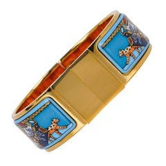 Hermes Vintage Clic Clac Snow Leopards PM 65 Enamel Bracelet