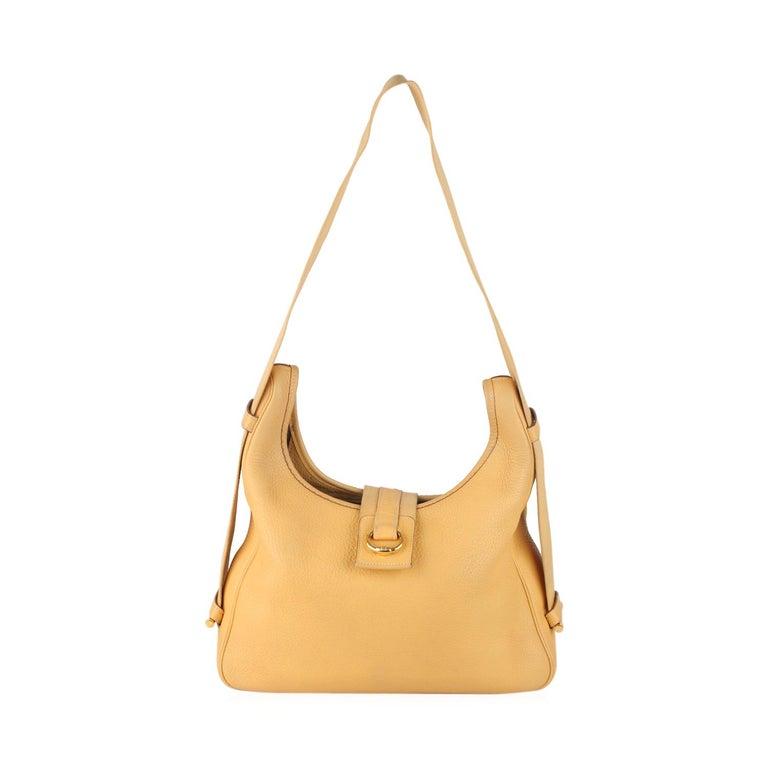 0cd9b3280774 Hermes Vintage Cream Leather Convertible Tsako Hobo Shoulder Bag For Sale