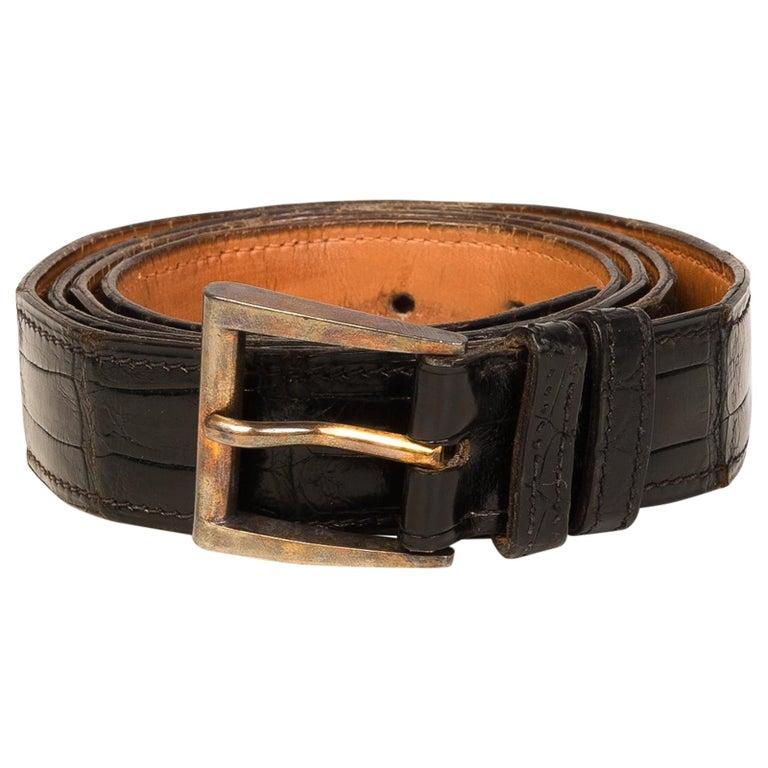 Hermes Vintage Crocodile Belt  For Sale