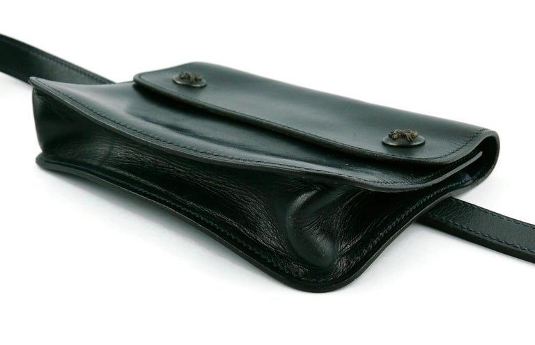 Hermes Vintage Dark Navy Blue Pochette Fanny Pack For Sale 3
