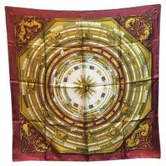 Hermes Vintage Dies et Hore Astrologie Silk Scarf in Maroon c1960s