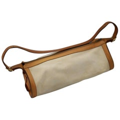 Hermes Vintage Doremi Leather and Canvas Polochon Bag