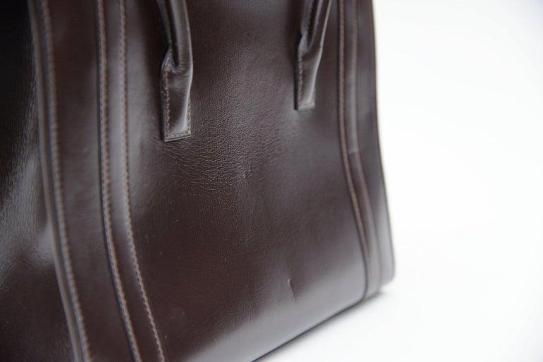 Hermes Vintage Drag Bag Brown Box Leather  For Sale 5