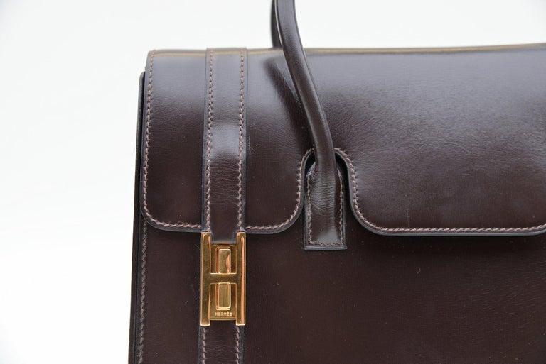 Hermes Vintage Drag Bag Brown Box Leather  For Sale 6