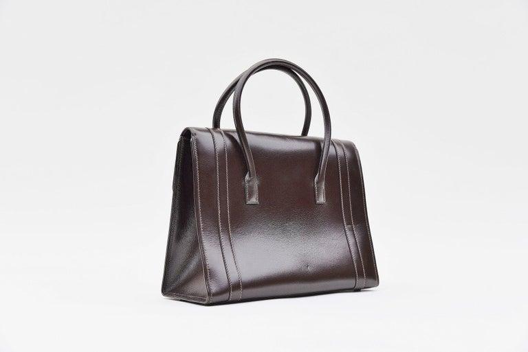 Black Hermes Vintage Drag Bag Brown Box Leather  For Sale