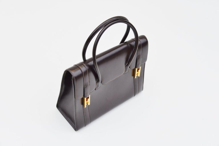 Hermes Vintage Drag Bag Brown Box Leather  In Good Condition For Sale In Roosendaal, NL