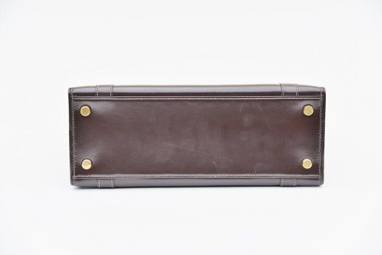 Women's Hermes Vintage Drag Bag Brown Box Leather  For Sale