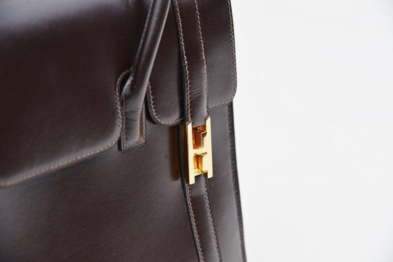 Hermes Vintage Drag Bag Brown Box Leather  For Sale 1