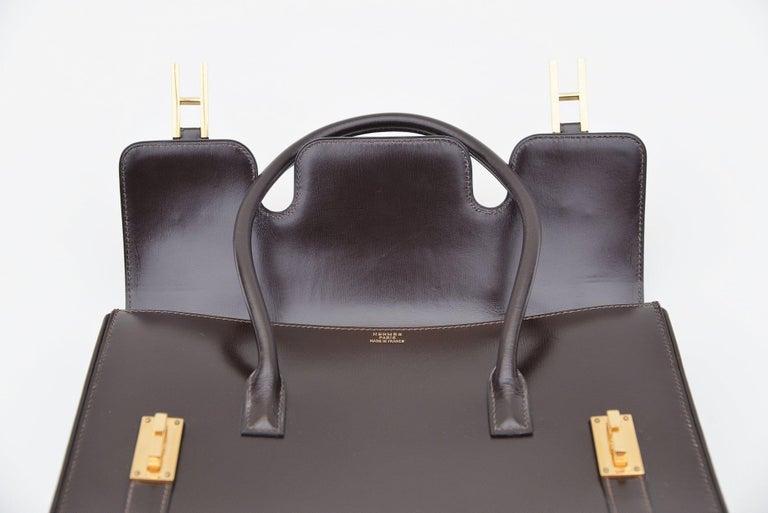 Hermes Vintage Drag Bag Brown Box Leather  For Sale 2