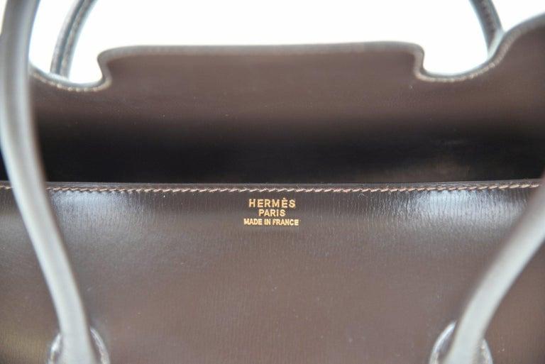 Hermes Vintage Drag Bag Brown Box Leather  For Sale 3