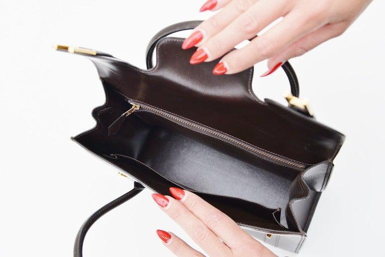 Hermes Vintage Drag Bag Brown Box Leather  For Sale 4