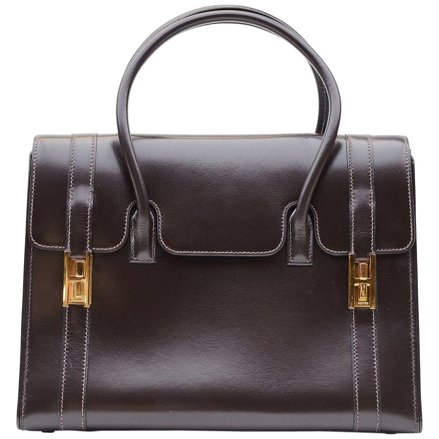 Hermes Vintage Drag Bag Brown Box Leather
