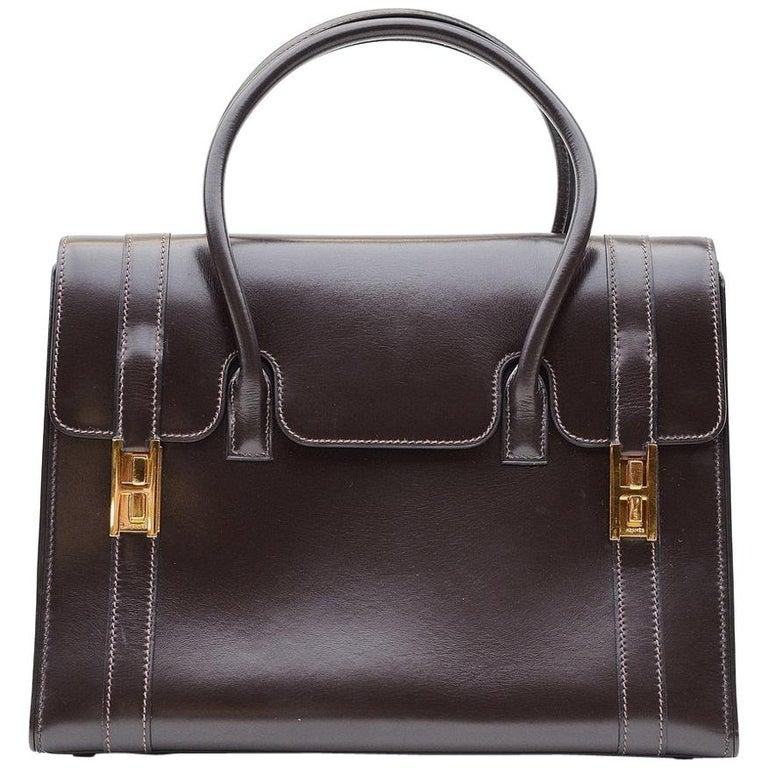 Hermes Vintage Drag Bag Brown Box Leather  For Sale
