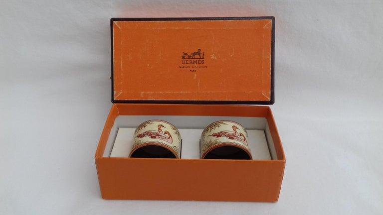 Hermès Vintage Duck Pattern Enamel Printed Napkin Rings Holders SUPER RARE For Sale 6