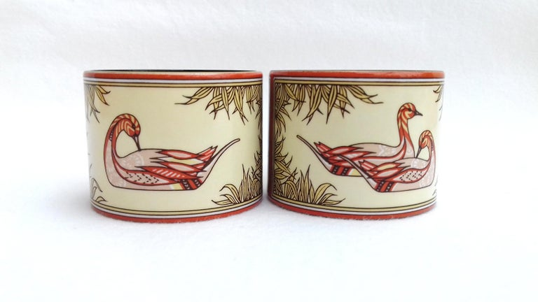 Hermès Vintage Duck Pattern Enamel Printed Napkin Rings Holders SUPER RARE For Sale 7