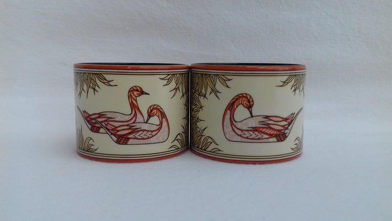 Hermès Vintage Duck Pattern Enamel Printed Napkin Rings Holders SUPER RARE In New Condition For Sale In ., FR