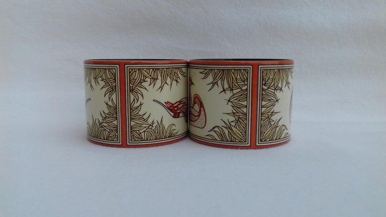 Women's or Men's Hermès Vintage Duck Pattern Enamel Printed Napkin Rings Holders SUPER RARE For Sale