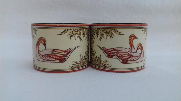 Hermès Vintage Duck Pattern Enamel Printed Napkin Rings Holders SUPER RARE For Sale 1