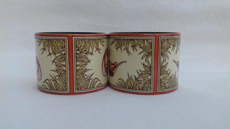 Hermès Vintage Duck Pattern Enamel Printed Napkin Rings Holders SUPER RARE For Sale 2
