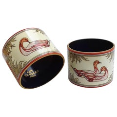 Hermès Vintage Duck Pattern Enamel Printed Napkin Rings Holders SUPER RARE
