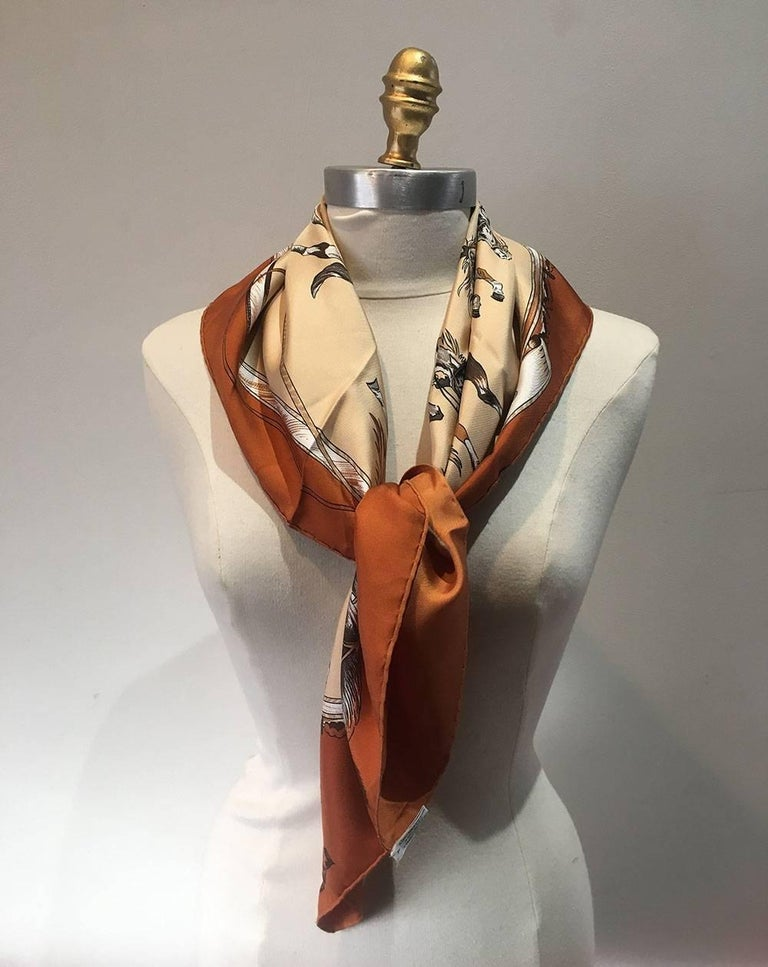 Hermes Vintage En Piste Brown Silk Scarf, circa 1998 In Excellent Condition For Sale In Philadelphia, PA