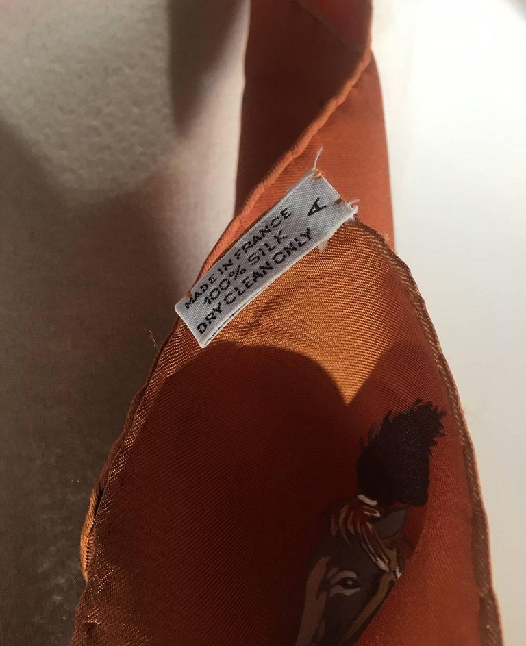 Women's or Men's Hermes Vintage En Piste Brown Silk Scarf, circa 1998 For Sale