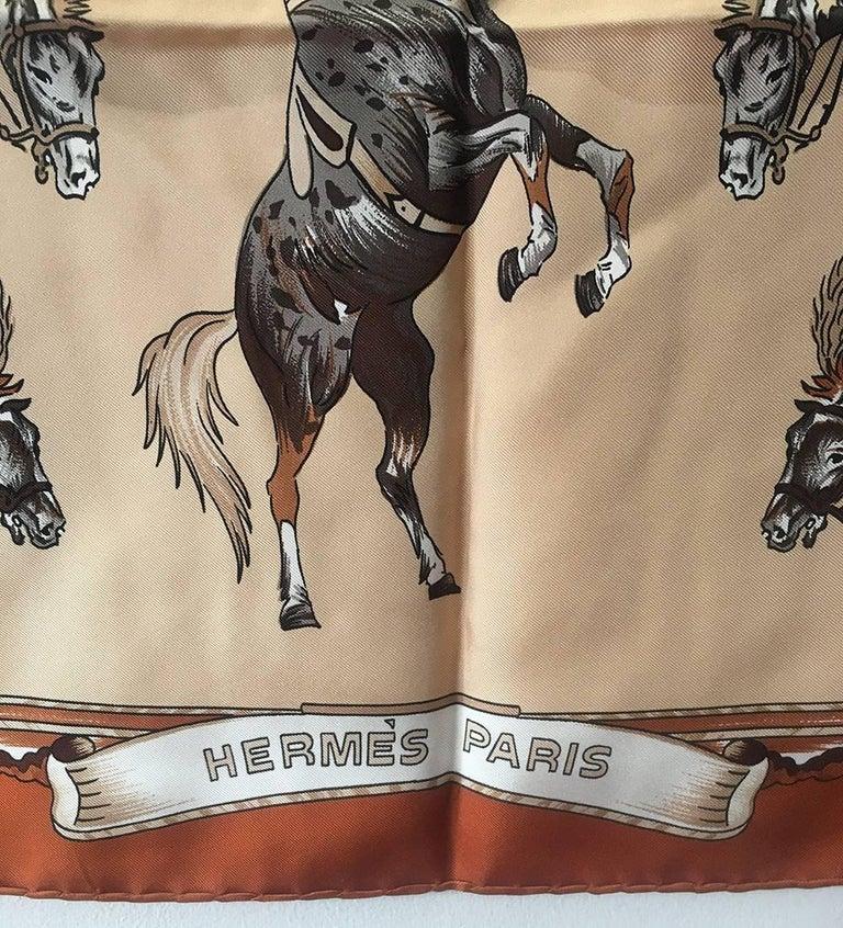 Hermes Vintage En Piste Brown Silk Scarf, circa 1998 For Sale 1