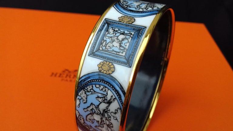 Hermès Vintage Enamel Bracelet Wedgwood Ledoux Gold plated Hdw Size 65 For Sale 9