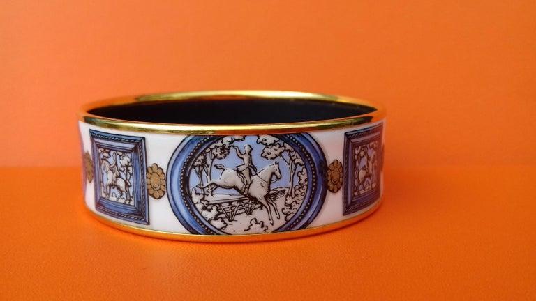 Hermès Vintage Enamel Bracelet Wedgwood Ledoux Gold plated Hdw Size 65 For Sale 5