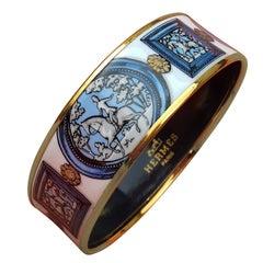 Hermès Vintage Enamel Bracelet Wedgwood Ledoux Gold plated Hdw Size 65