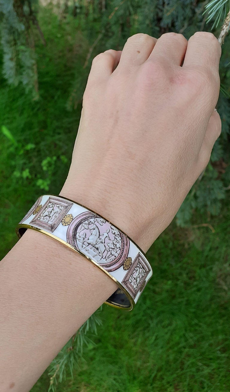 Hermès Vintage Enamel Bracelet Wedgwood Pink Gold Hdw Size GM 70 RARE  7