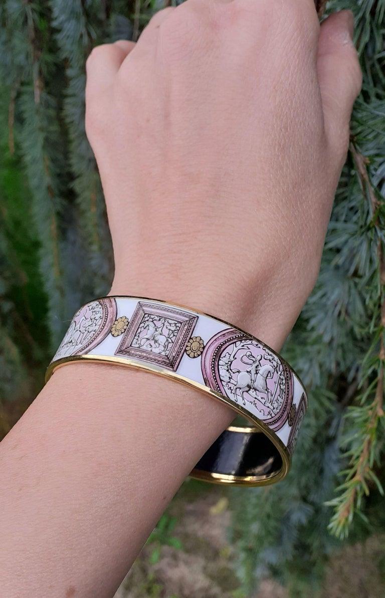 Hermès Vintage Enamel Bracelet Wedgwood Pink Gold Hdw Size GM 70 RARE  8