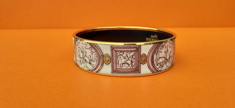 Women's Hermès Vintage Enamel Bracelet Wedgwood Pink Gold Hdw Size GM 70 RARE