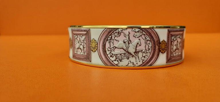 Hermès Vintage Enamel Bracelet Wedgwood Pink Gold Hdw Size GM 70 RARE  1