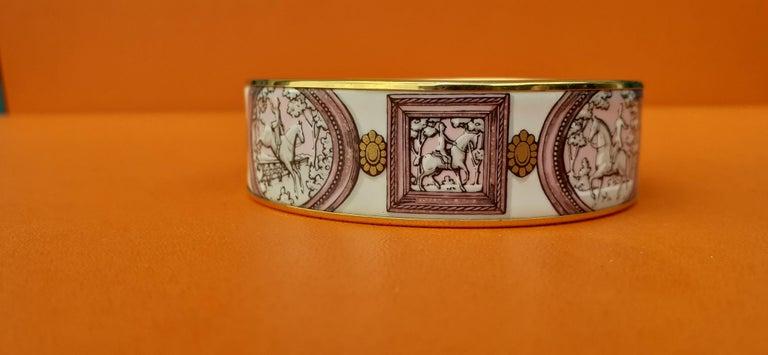 Hermès Vintage Enamel Bracelet Wedgwood Pink Gold Hdw Size GM 70 RARE  2