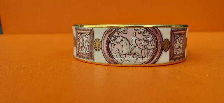 Hermès Vintage Enamel Bracelet Wedgwood Pink Gold Hdw Size GM 70 RARE  3