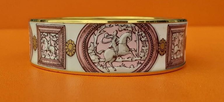 Hermès Vintage Enamel Bracelet Wedgwood Pink Gold Hdw Size GM 70 RARE  4