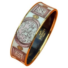 Hermès Vintage Enamel Bracelet Wedgwood Pink Gold Hdw Size GM 70 RARE