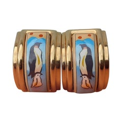 Hermès Vintage Enamel Printed Clip-On Earrings Penguins Golden Hdw RARE