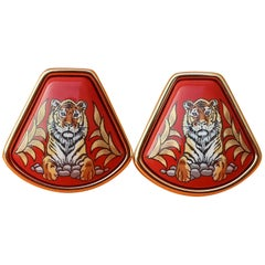 Hermès Vintage Enamel Printed Clip-On Earrings Tigre Royal Tiger Red Gold Hdw