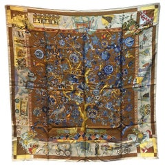 Hermes Vintage Fantaisies Indiennes Silk Scarf in Tan c1987