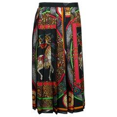 Hermes Vintage Feux d'Artifice 150th Anniversary Pleated Silk Skirt